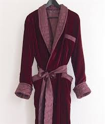 Men's Long Dressing Gowns in Red Velvet and Quilted Silk &  Adamdwight.com