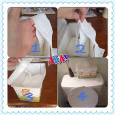 make pieces of 3 squares of tp overlap pieces like they overlap baby wipes into the empty wipe case stack your pieces and pull the top piece through the