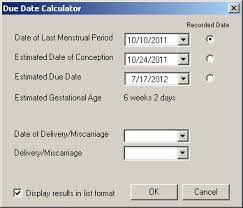 Pregnancy Due Date Chart Conception Add Pregnancy Information To A Chart Note