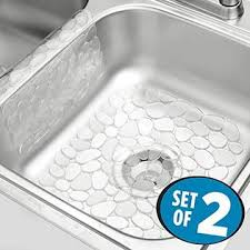 Elegant MetroDecor MDesign Pebbles Kitchen Sink Protector Mat And Sink Divider  Protector   Pack Of 2, Clear