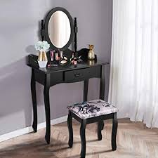 giantex vanity makeup table set s chic modern style with gl mirror drawer las large make