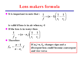 lens maker s formula lecture 24 for phys 241 fall 99
