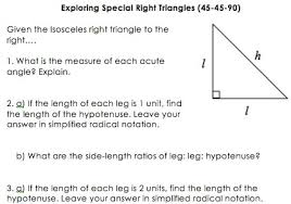 additionally  besides Lesson 1 Angle Measurement in addition These notes are for 45 45 90 special right triangles  I give a in addition Special Right Triangle Color By Numbers by Math Maniacs   TpT moreover High School Geometry  mon Core G SRT B 5   Geometric Mean besides Geometry   Mrs  Murk's Math Class in addition 7 3 Special Right Triangles  45 45 90 and 30 60 90  wmv   YouTube besides  also Math Tutor Berkeley   San Francisco Bay Area   Mathematics together with PDF  edgenuity answers geometry a special right triangle  28 pages. on special right triangles worksheet answers