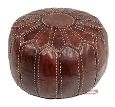 moroccan pouffe ottoman brown tan leather filled  essence of morocco