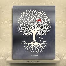 10 year anniversary tree with roots minimalist design gift for couple tin gift carved initials