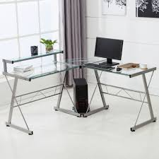 l shape corner computer desk pc glass laptop table workstation home office clear