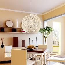 Woven Ball Shaped Pendant Lighting For Minimalist Dining Room