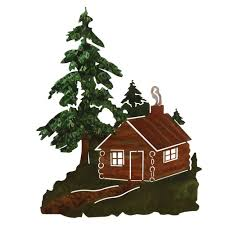 on wood pine tree wall art with log cabin in wood 3 d metal wall art
