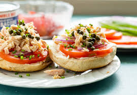 Tuna Breakfast Bagels Recipe ~ Macheesmo