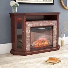 58 inch driftwood electric fireplace tv stand with doors on