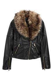 h m women s biker jacket with faux fur trim