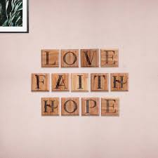 I wish my tablet had a camera, you need to see this. Love Hope Faith Wooden Crossword Art Scrabble Wall Art Home Decor Woodgeekstore