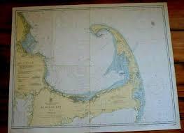Cape Cod Wood Chart 1208 Cape Cod Bay Antique Nautical Chart