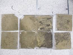 ed terrazzo tiles lifted to expose bedding mortar
