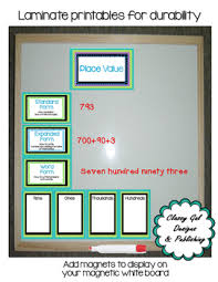 Magnetic Place Value Chart Number Of The Day With Place Value Chart Labels And Center