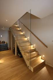 stairway-lighting-Staircase-Contemporary-with-balustrade-basement -Contemporary-Staircase-glass-balustrade-glass