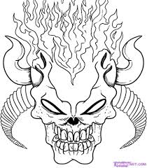 Demon Skull Coloring Pages Halloween Ideas Skull Coloring Pages