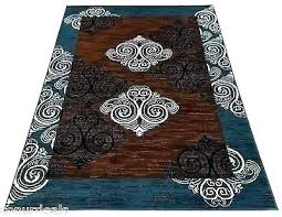 blue rug navy white mesmerizing and brown area rugs carpet new damask 5x7 b