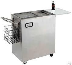 avanti orc2519ss 50 inch portable outdoor beverage cooler with 2 5 cu ft capacity dual sliding glass doors door lock serving table digital temperature