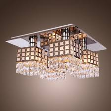 saint mossi stainless modern chic flush mount crystal ceiling light fixture for living room bedroom in gein pattern with 4 lightby saint mossi