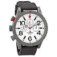 nixon watches jomashop nixon 48 20 chronograph white dial black leather men s watch