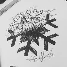 тату эскиз горы Vtattoo
