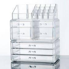 makeup cosmetics jewelry organizer acrylic display box storage w drawers