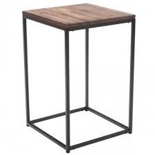 Table d'appoint carrée en bois d'acacia et méta... - Achat / Vente ...