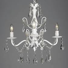 harrison lane scl1490cw white 4 light 15 wide single tier chandelier with hanging crystal accents and white faux candles