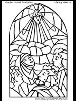 Stained Glass Coloring Pages Bible Story Images For Children To Color