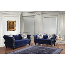 Furniture of America Zaffiro Livingroom Set in Royal Blue