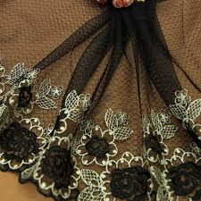 <b>1yd Lace Fabric Trim</b> Dark Black Gold Embroidered Flowers Tulle ...