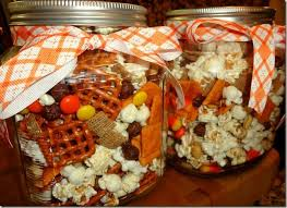 We made this festive snack mix as a Thanksgiving gift for the girls' CBS  teachers