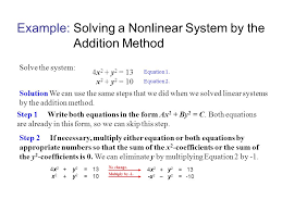 example solving a nar system by the addition method systems of nar equations and their solutions ppt