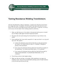 Resistance Welding Transformer Design Testing Resistance Welding Transformers