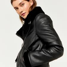 warehouse faux leather bonded biker black 3
