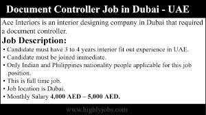 Job Profile Of Document Controller Document Controller Job In Dubai United Arab Emirates