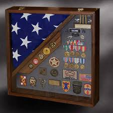 walnut shadow box with burial flag