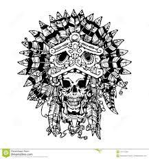 ацтекская татуировка ратника череп в маске ягуара иллюстрация