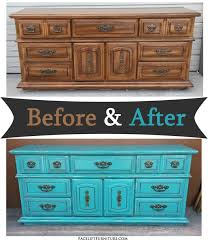 dresser in distressed turquoise black glaze before after
