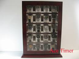 Standing Watch Display Case 100 Watch Wooden Stand Wall Display Storage Case Fit Up to 100mm 4