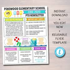 This awesome free end of year flyer. June Pto Pta Newsletter Flyer Classroom Printable Handout End Of School Year Calendar Meeting Agenda Printable Organizer Editable Template By Tidylady Printables Catch My Party