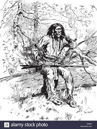 A Warrior With Gun From The Apache Tribe Vintage Line Drawing Or