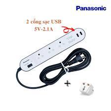 FREE SHIP] Ổ cắm điện Panasonic 3 lổ cắm 3m + 2 cổng sạc nhanh WCHG243322WG  2500W TẶNG phích nối (Made in ThaiLan))