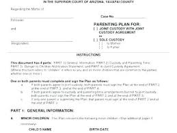 Shared Parenting Agreement Template Large Size Of Joint Custody