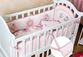 4pcs baby bedding set cotton embroidery quilit cot per pillow baby crib bedding set pink erfly dragonfly