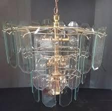 vintage brass beveled glass panel chandelier atomic starburst 13x bulbs