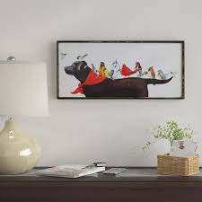 Winston Porter 'Birds On Dog' Framed Painting Print On Canvas Cool Fendi Bedroom Furniture Creative Painting