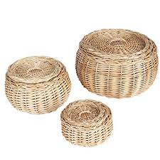 woven basket with lid. Amazon.com: Household Essentials Round Vanity Wicker Storage Baskets With Lids, 3 Pc Set, Light Brown: Home \u0026 Kitchen Woven Basket Lid A