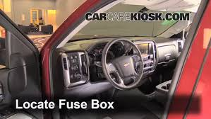 interior fuse box location 2014 2018 chevrolet silverado 1500 locate interior fuse box and remove cover